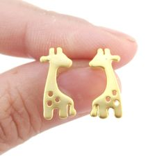 f41da998b Baby Spotted Giraffe Silhouette Animal Shaped Stud Earrings in Gold |  Allergy Free