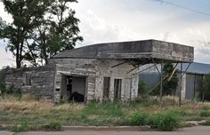 Old abandoned service station along Route 66 in Texola, Oklahoma. 2012