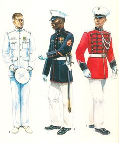 "1.- First Lieutenant, White Dress,.""A"",1983.  2.- Staff Sergeant, Blue-White Dress ""A"",  3.- Musician, US Marine Band,1983."