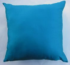 Turquoise Blue Silk Throw Pillow Cover  16 x 16 by sassypillows, $22.99