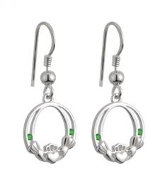 Sterling Silver Crystal Emerald Claddagh Earrings. A pair of Sterling Silver, Claddagh, Drop earrings with synthetic emeralds on the shoulder the claddaghs. The Heart symbolizes Love, the Crown symbolizes Loyalty, and the Hands friendship. Comes in a padded display.  From Solvar Jewelry, Dublin, Ireland. Hallmarked at the Assay Office in Dublin Castle. Measures approx. .5 inch tall x .4 inch wide. Length inc. drop approx. 1 inch.