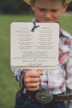 rutic farm wedding program ideas - could be doubled as a fan Spring Wedding Invitations, Wedding Invitation Cards, Wedding Stationery, Invites, Farm Wedding, Dream Wedding, July Wedding, Perfect Wedding, Wedding Quotes