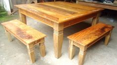 Wooden Dining Table Designs, Wooden Dining Tables, Dining Bench, Wood Bed Design, Used Woodworking Tools, Wood Beds, Phone, Furniture, Home Decor