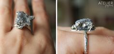 Specimen ring! <3 Sterling silver, natural drusy with pyrite inclusions. Available at: www.facebook.com/ateliergabymarcos