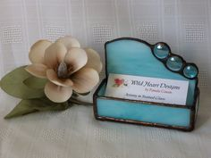 This business card holder is made with a beautiful shade of aqua glass with matching nuggets. Stained Glass Lamps, Stained Glass Projects, Stained Glass Patterns, Mosaic Glass, Slumped Glass, Fused Glass, Delphi Glass, Glass Office, Business Card Holders