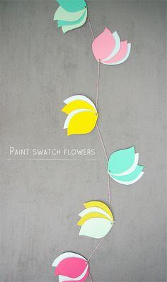 DIY: paint swatch flower garland