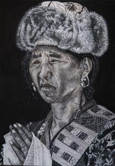 Femme du Ladakh - Sable+Acrylique 70x100cm - Peinture,  70x100x1 cm ©2016 par David Cadran -  #sandart #tableaudesable #sand #sandartist