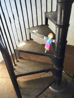 Old Cape Henry light house stairs with Flat Stanley.