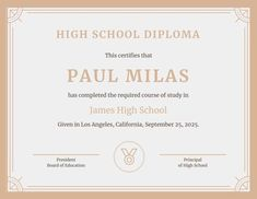 Looking for free Printable High School Diploma Template? ✅ These diploma templates are free to use & can be edited online. Free High School Diploma, High Diploma, College Diploma, Devry University, Importance Of Time Management, Printable Certificates, Online College, Education And Training, School Organization