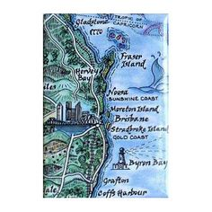 Journey Jottings Map Magnet, from Fraser Island to Byron Bay in Queensland | $5.95 | State Library of Queensland Shop