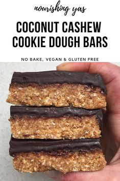 Vegan Coconut Cashew Cookie Dough Bars | No bake & Gluten Free | Nourishing Yas - Simple Plant based Recipes #nobakedessert #nobake #cookiedough #cookiedoughbars #cashewbutter #veganrecipes #vegandesserts #veganbars #veganchocolate #vegancookiedough