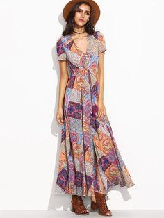 Multicolor Vintage Print V-Neck Drawstring Button Front Dress