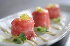 Saia's Tamari scallop: tuna, scallops, crabmeat, masago, siracha, wasabi, and aioli. @sonestafortlaud
