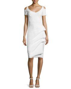 TC1AN La Petite Robe di Chiara Boni Julia Cold-Shoulder Ruched Cocktail Sheath Dress