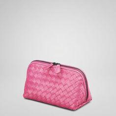 COSMETIC Bogetta Veneta-Intrecciato Nappa Cosmetic Case in Ametiste (pink), sapphire, black or brown