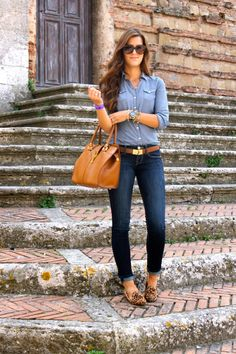 Denim On Denim With Leopard And Brown Accents