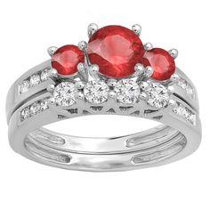 Elora 10k Gold 1 3/4ct Round Red Ruby and White Diamond Bridal Ring Set (H-I, I1-I2) (Size 9, White Gold), Women's