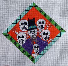 Renassaince Designs Halloween Skulls Hand Painted Needlepoint 16 Count Canvas | eBay