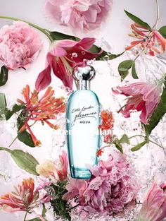Estée Lauder Pleasures Aqua - A Dreamy Escape to a Floral Haven by the Sea (2016) {New Perfume} {Fragrance Images & Ads}
