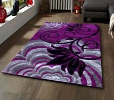 Superbe Black And Purple Bathroom Rugs | Purple Blackgropund With Grey Silver And  Black Flower Pattern Rug