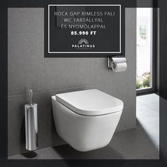 Legújabb ajánlatunk a Roca Gap rimless fali WC tartállyal és nyomólappal 85.990 Ft! Gyere el üzletünkbe, nézd meg személyesen és vásárold meg szeptember 30-ig! Gap, Toilet, Flush Toilet, Toilets, Toilet Room, Bathrooms