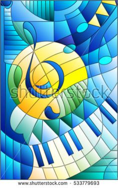 Abstract image of a treble clef in stained glass style Stained Glass Quilt, Faux Stained Glass, Stained Glass Patterns, L'art Du Vitrail, Polychromos, Arte Pop, Abstract Images, Mosaic Art, Art Music