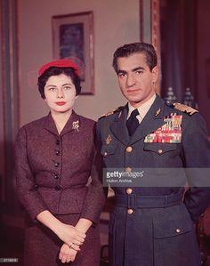 1958: Muhammad Reza Pahlavi, the Shah of Iran (1919 - 1980) with his second wife Queen Soraya (Soraya Esfandiari) whom he divorced for failing to produce an heir.