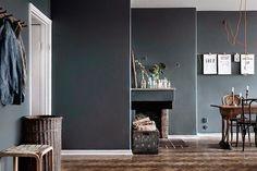 my scandinavian home: One Swedish apartment, two different ways of doing grey Dark Walls, Grey Walls, Dark Interiors, Colorful Interiors, Interior Walls, Interior And Exterior, First Apartment, Deco Design, Scandinavian Home