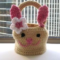 Friendly Bunny Basket | AllFreeCrochet.com