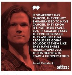 """Supernatural star Jared Padalecki revealed his personal struggle with depression this week, saying """"there's no shame"""" in dealing with mental health Familia Winchester, Sam Winchester, Winchester Brothers, Supernatural Quotes, Supernatural Fandom, Supernatural Bunker, Supernatural Pictures, Sherlock Quotes, Supernatural Seasons"""