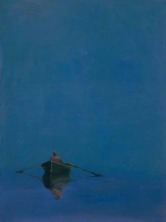 "allotherthingsintheworld:  Anne Packard  -  Rowboat on Blue 40"" x 30"", Oil on canvas"