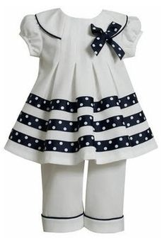 White & navy...classic! http://www.connieskids.com/easter-favorites/white-navy-dotted-trim-pant-set