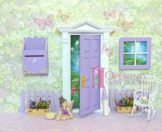 Purple Opening Fairy Door with accessories. Proudly Australian made and Australian owned Opening Fairy Doors, Fairy Door Accessories, Door Sets, Fairy Land, Kids Bedroom, Toddler Bed, Room Decor, Purple, Fun