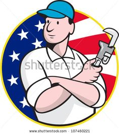 Cartoon illustration of an American plumber worker repairman tradesman with adjustable monkey wrench set inside circle with stars and stripes flag. #plumber #laborday #cartoon #illustration