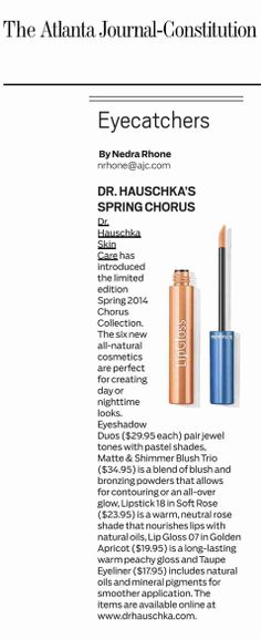 The Atlanta Journal-Constitution features our Chorus Collection Make-up, spotlighting our Lip Gloss 07 in Golden Apricot. Nice!
