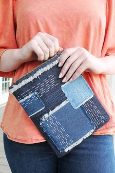 Make a Patchwork Clutch with Sashiko Stitching and Denim Jeans
