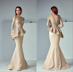 Champagne Lace Stain Mother Of The Bride Dress Peplum Formal Wear Mermaid Evening Dresses Long Sleeve Dubai Arabic Prom Gowns, Peplum Wedding Gowns, Bride Gowns, Bridesmaid Dress, Dress Wedding, Lace Wedding, Wedding Veil, Pink Formal Dresses, Nice Dresses, Sexy Dresses