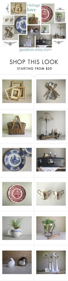 """Vintage Love"" by gazaboovintage ❤ liked on Polyvore featuring interior, interiors, interior design, home, home decor, interior decorating, Mason's and vintage"