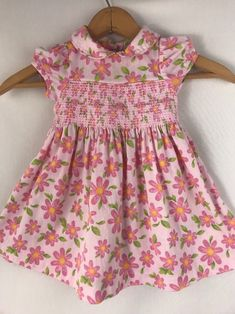 e70c8165a16c Laura Ashley Baby Girl s Pink Daisy Floral Smocked Dress 12mo.