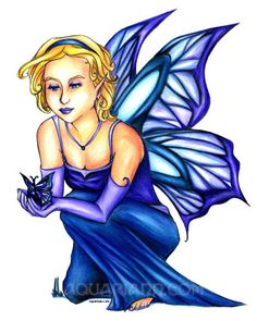 Blond Fairy Drawing  Blue Butterfly Wings  Fantasy by aquariann, $10.00