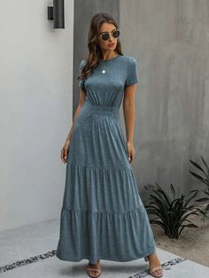 Ruched Front Ruffle Hem Maxi A-line Dress | SHEIN USA Maxi Dress With Sleeves, Dress P, New Dress, Short Sleeve Dresses, Trendy Dresses, Casual Dresses, Prom Dresses, Types Of Fashion Styles, Fashion News