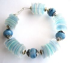 Blue bracelet eco-friendly made of recycled plastic bottles chunky beads - upcycled jewelry, eco chic, aqua, sustainable Plastic Bottle Crafts, Plastic Jewelry, Recycle Plastic Bottles, Plastic Beads, Bracelet Making, Jewelry Making, Recycling, Reuse Recycle, Recycled Jewelry