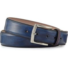 Magnanni Perforated Calf Leather Belt ($175) ❤ liked on Polyvore featuring men's fashion, men's accessories, men's belts, navy, mens navy blue belt, mens navy belt and mens navy blue leather belt