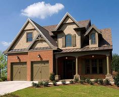Plan European, Photo Gallery, Traditional, Cottage, Narrow Lot House Plans & Home Designs Craftsman Style House Plans, Cottage House Plans, Cottage Homes, Cottage Style, Craftsman Porch, Craftsman Homes, Craftsman Cottage, Craftsman Exterior, Cottage Ideas