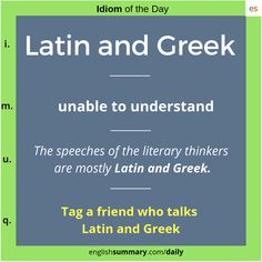 Latin and greek Meaning and use in english Advanced English Vocabulary, English Vocabulary Words, English Phrases, English Idioms, English Lessons, Interesting English Words, Learn English Words, Greek Meaning, Idiomatic Expressions