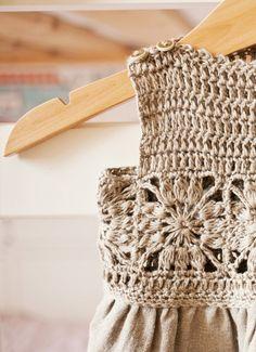 Free granny square #crochet + fabric dress pattern by Mon Petit Violin