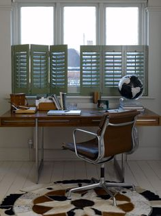 5 reasons to use shutters in your home office, including tips, designs and ideas for creating a beautiful, yet practical home office space. Window shutters make great alternatives to blinds and colourful shutters are a real focal point and design statemen