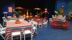 007 Resin Folding Chairs, Red & White Striped Linens, Chalkboard Activity Tables, Elephant Tables with Umbrellas & Mouse Balloon Ringmaster