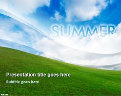 Summer  PowerPoint Template with nice sky background design and green field #PowerPoint #templates