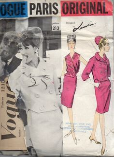 Vogue 1213 1960s Paris Designer LANVIN CASTILLO Misses Suit Double Breasted Jacket Slim Skirt and V Neck Blouse  womens vintage sewing pattern by mbchills